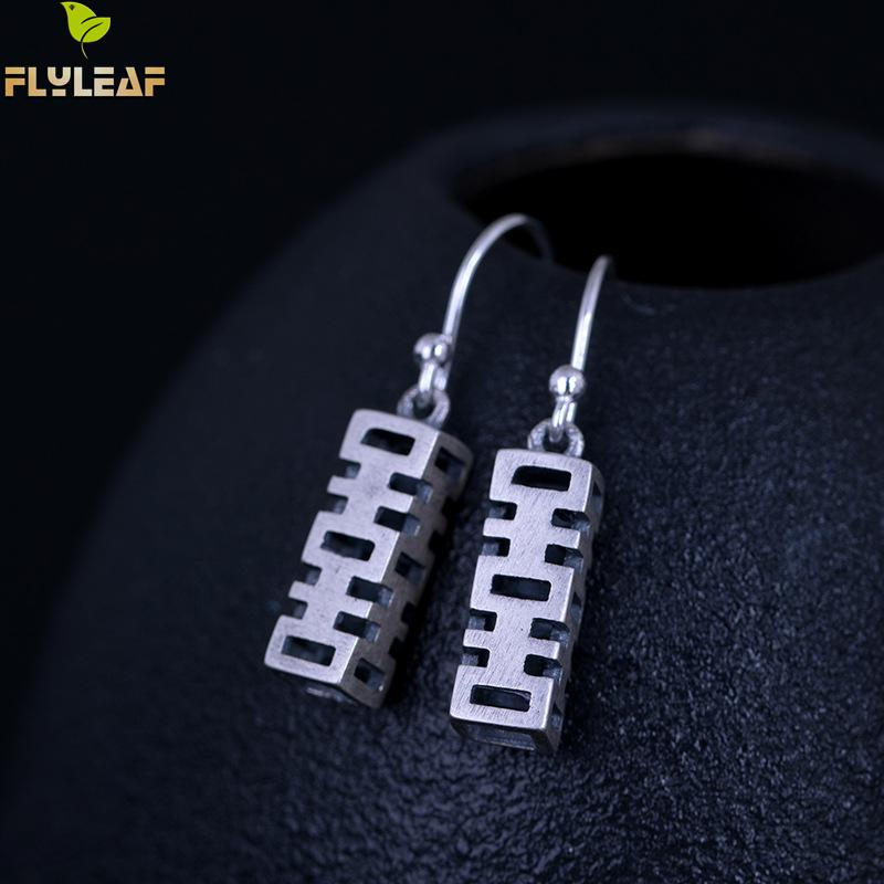 Flyleaf Lucky Meaning Chinese Character Dangle Earrings For Women 100% 925  Sterling Silver Vintage Style Jewelry