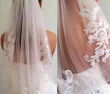 NOBLE WEISS In Stock Short One Layer waist length beaded Diamond appliqued white or ivory wedding veil bridal veils