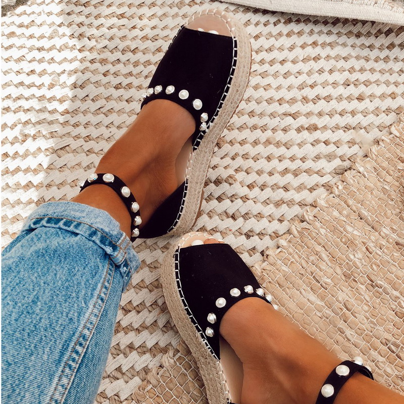 HEFLASHOR Platform Wedges Sandals Pearl Open-Toe Comfort High-Heels Female Fish-Mouth