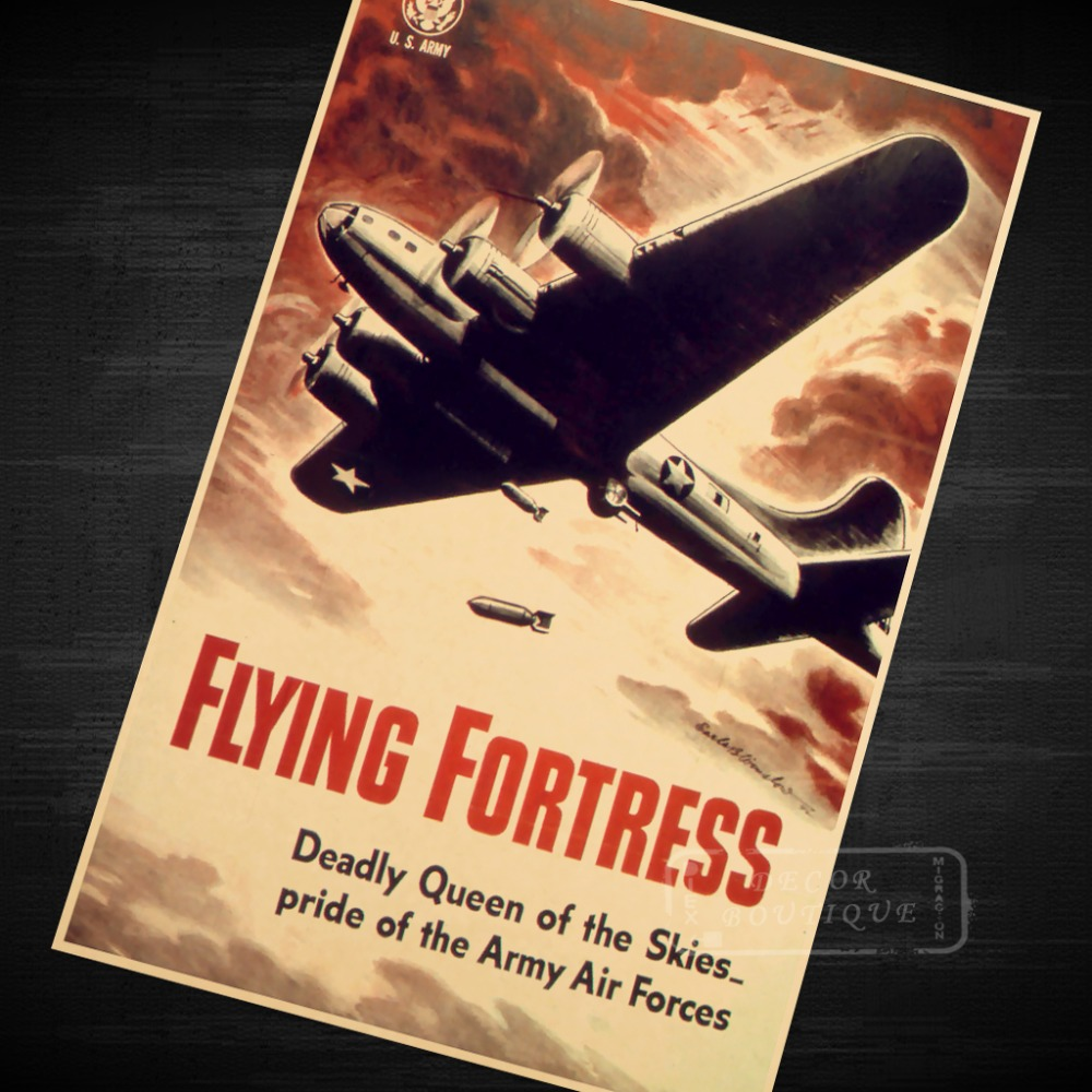 Art Print US Army Air Force Flying Fortress Print Art Poster Vintage ...