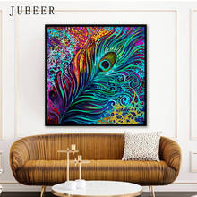 Nordic Style Abstract Canvas Painting Colorful Peacock Feather Frameless Decorative Poster and Prints for Living Room