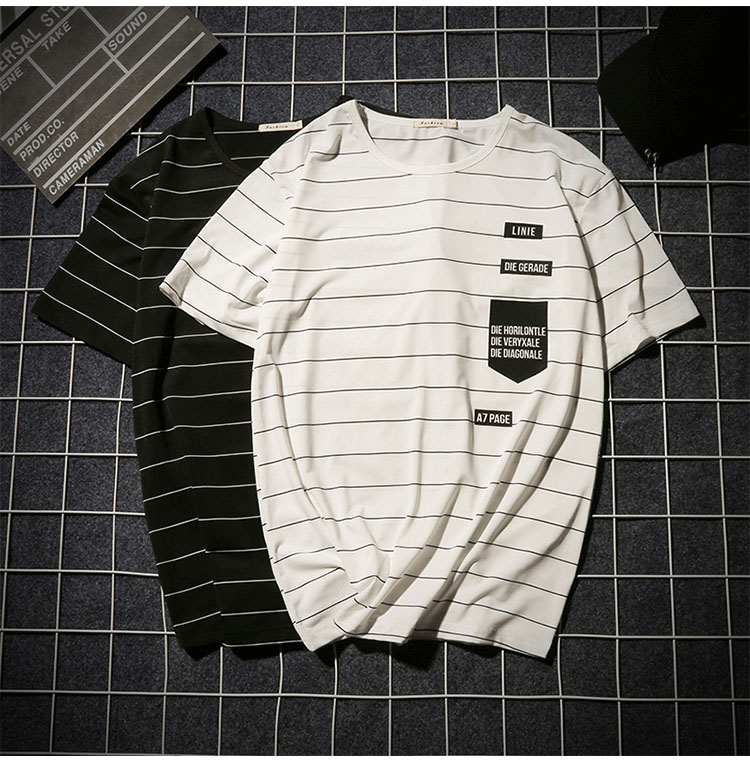Summer T-shirt Men's Short-sleeved Fashionable Half-sleeved Round-collar Slim Men's Stripe Half-sleeved Clothes MW51 9