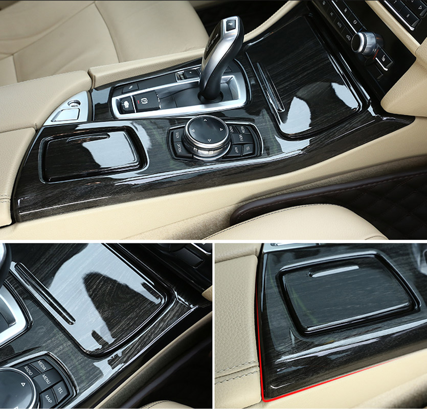 Black Ash Wood For BMW 5 Series F10 2011 2016 520li 525li 530li ABS Center Console