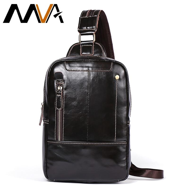MVA Men Chest Bag Leather Sling Shoulder Bag Male Genuine Leather Crossbody Bags Man Chest Pack Messenger Bags For Men 8210