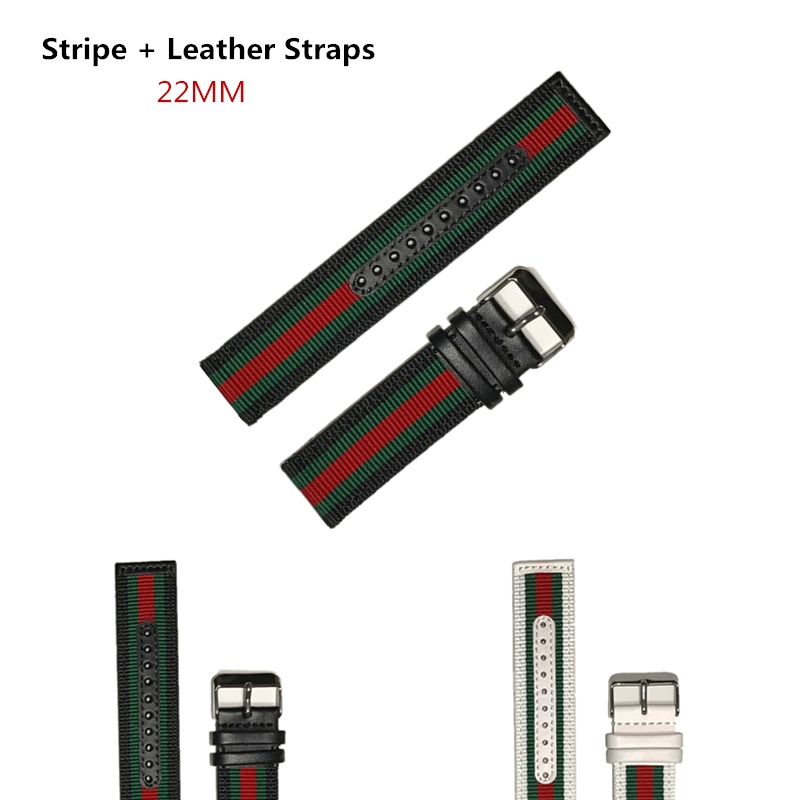 Konaforen 22mm Canvas Leather + Nylon Watchband For Armani Diesel Fossil Timex Jeep Quick Release Watch Band Wrist Strap Band