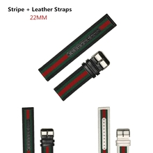 Konaforen 22mm Canvas Leather + Nylon Watchband For Armani D