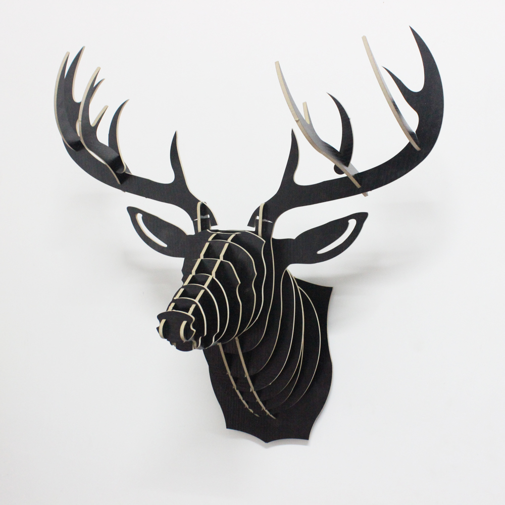 1 Piece 25 Inch Nordic Style Wood Animals Head Hanging Wooden Deer Head Wall Decoration Crafts For Art Home Decor