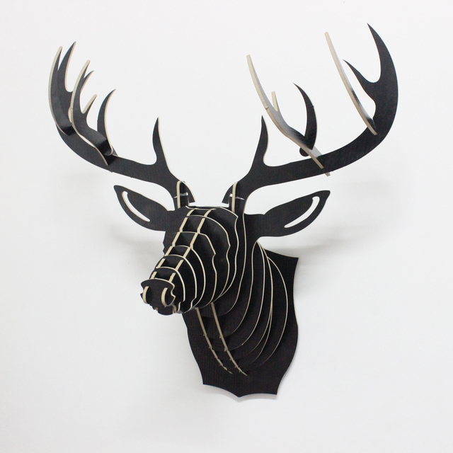 1 Piece 25 Inch Nordic Style Wood Animals Head Hanging Wooden Deer Head  Wall Decoration Crafts