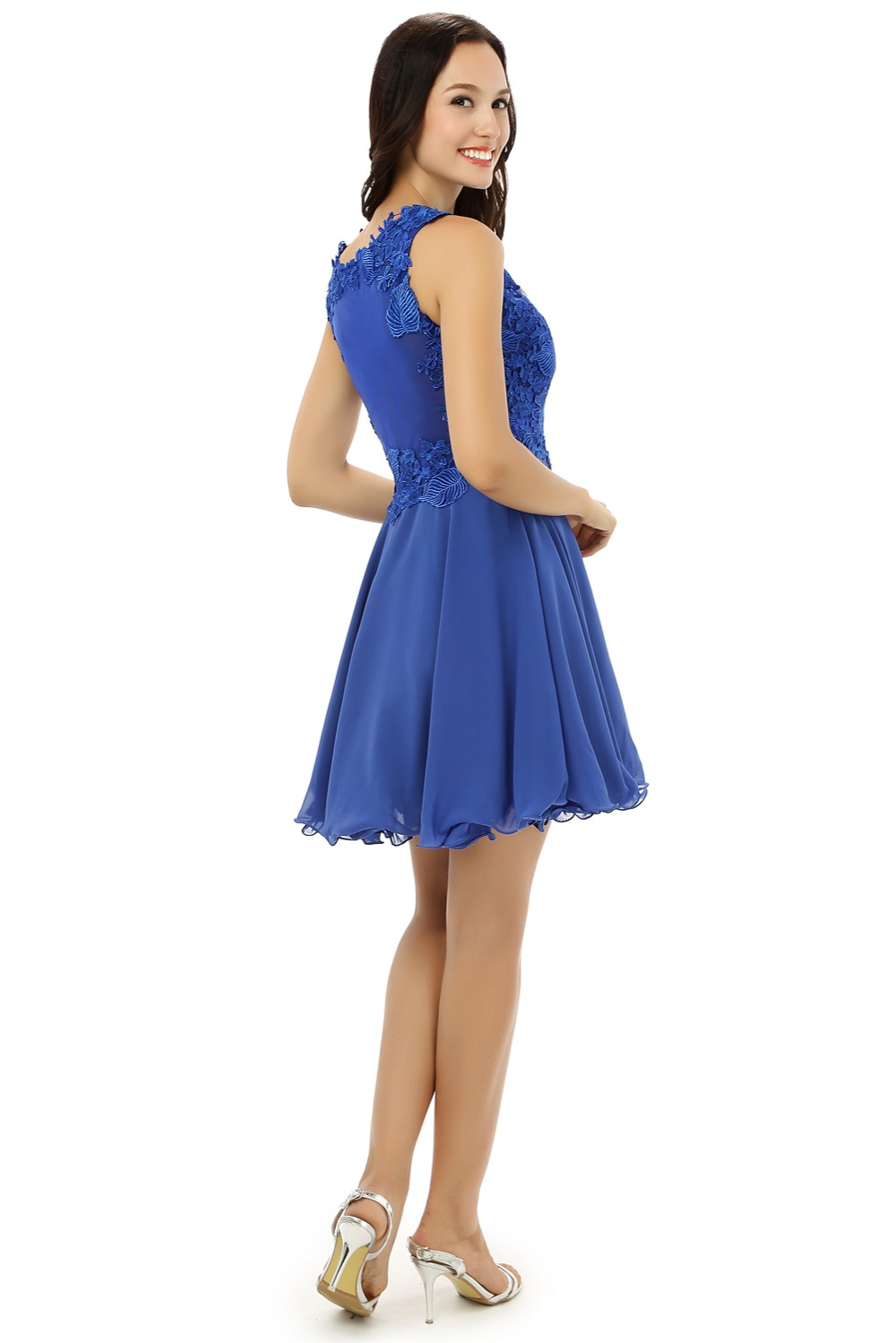 Royal Blue Homecoming Dresses A-line High Collar Organza Lace See Through Short Mini Sparkly Sweet 16 Cocktail Dresses 2018