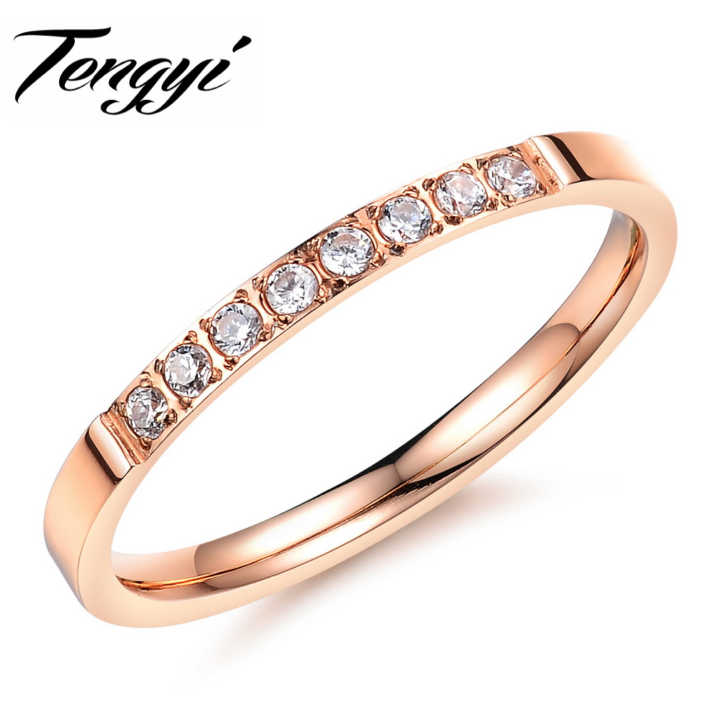 Classic Wedding RING 316L Stainless Steel Crystal Stones Ring ...