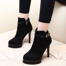 Winter Boots Women 2019 Black Ankle Boots For Woman Thin Heel Zip Ladies Shoes Martin Boots Kid Suede Shoes CH-A0117 fashion shoes women boots high heel zip ankle boots for women winter shoes suede boots black women ladies shoes botas