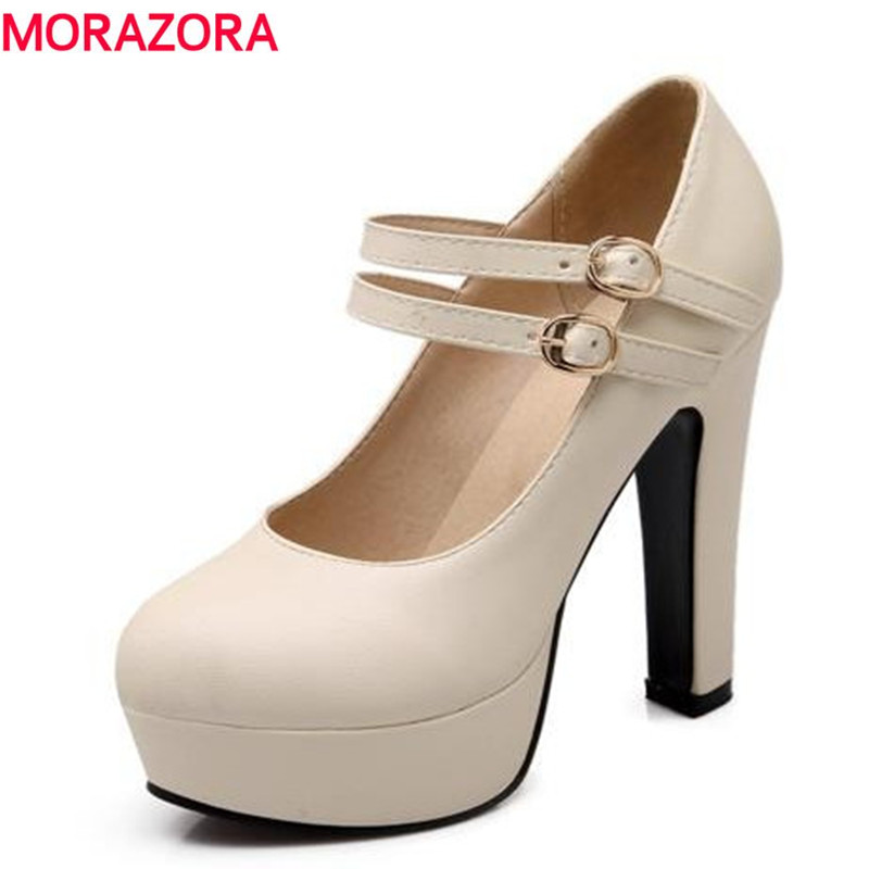MORAZORA Plus Size 34-47 New Fashion Round Toe Women Pumps Mary Janes Style Platform Shoes Round Toe Party Wedding Shoes