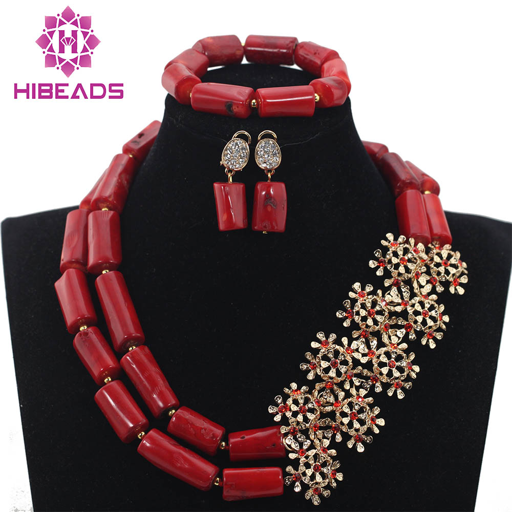 Wine Red Coral Beads Jewelry sets Fashion Nigerian Brides Wine Red Coral Costume Beads Necklace Jewelry Set Free ShippingABH138