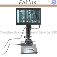 USB TF Card 5.0MP 9'' Tablet PC Digital Measurable Video Microscope Camera + Table Stand+100X C mount Lens + 144 LED Ring Light