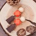 8 temporadas mujeres joyería de plata hecho a mano orange café redondo color de madera con cuentas de corea del terciopelo borla pendiente pendiente 1 par
