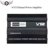 3800 Вт 12 В 4 канала мощный автомобильный усилитель звука Алюминий для сабвуфера Динамик iPhone дома Театр полный спектр 4 способ Amplifers