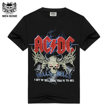 Men s Black T shirt AC DC HELLS BELLS Print Cotton acdc T shirts for men
