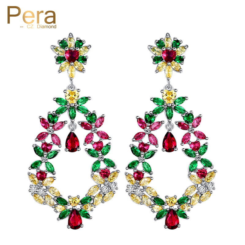 Pera Bohemian Style 5.5 cm Big Hollow Colorful Cubic Zircon Vintage Women Long Dangle Drop Earring Costume Jewelry For Gift E182 pera newest big vintage hollow out design yellow cubic zircon round drop pendant necklace and earrings set for luxury women j199