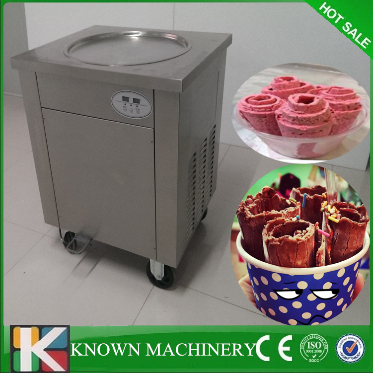 High compressors R410A refrigerant 110v/220v fry ice cream machine with topping cooling tacksHigh compressors R410A refrigerant 110v/220v fry ice cream machine with topping cooling tacks
