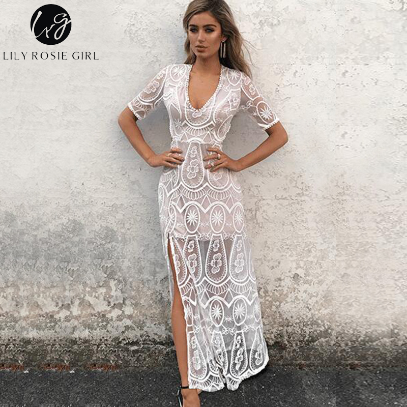 Lily Rosie Girl Sexy Lace Hollow Out Women Dresses Short Sleeve Maxi Dress Empire V-neck Blackless Summer Beach Party Vestidos