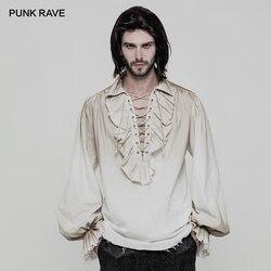 Панк Рейв черный белый цвета стимпанк мужская Свободная рубашка с длинным рукавом Готический Винтаж Викторианский мода мужская верхняя од...