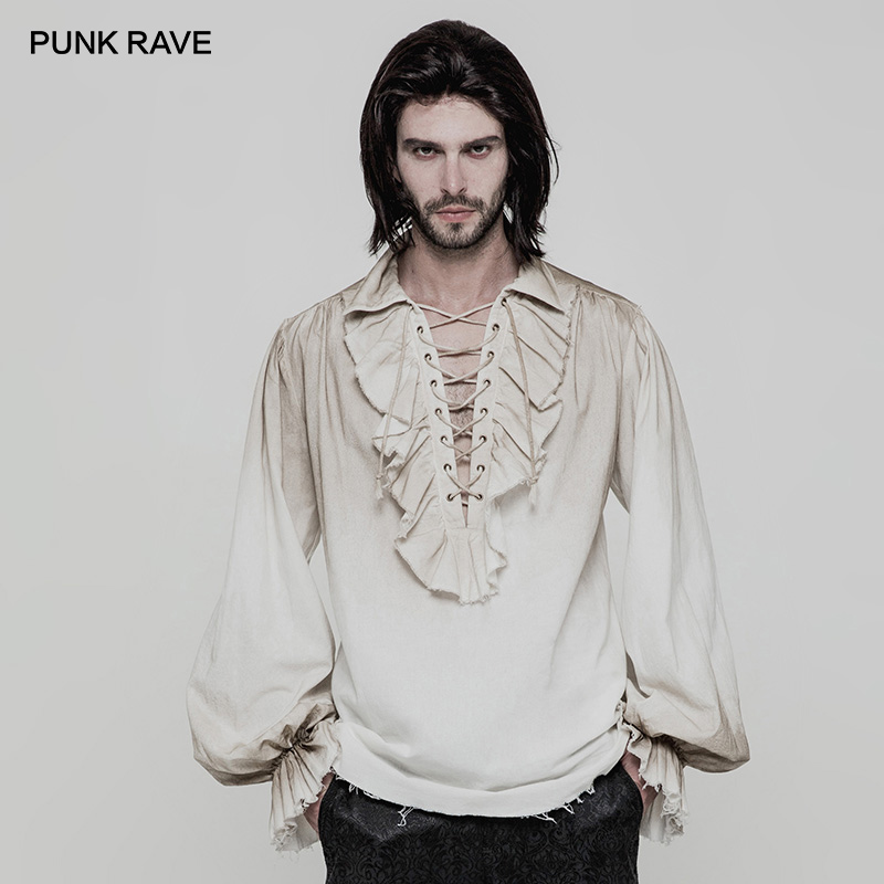 PUNK RAVE Black White Colours Steampunk Men's Loose Long Sleeve Shirt Gothic Vintage Victorian Fashion Men Top Clothing