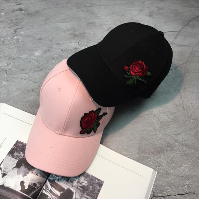 Ht1177 nueva moda Gorras de béisbol para hombres mujeres caliente Rosa flor  SnapBack CAPS negro sólido f0701702462
