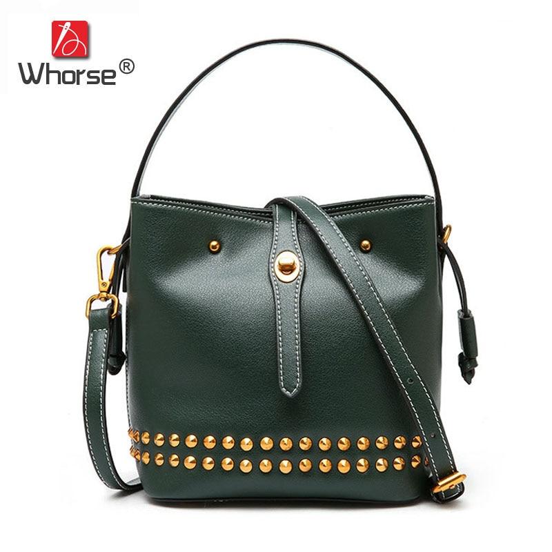 Fashion Style Genuine Leather Small Bucket Bag Rivet Beautiful Women Handbag Mini Ladies Shoulder Messenger Bags For Lady W09700