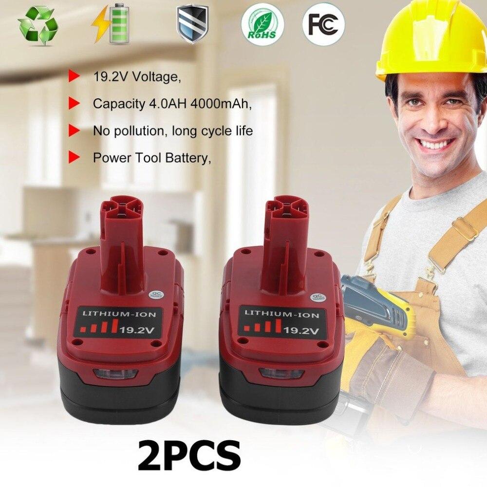 все цены на 2 PCS 19.2V 4.0Ah Li-Ion Battery For Craftsman C3 130211004 11375 Compact Replacement Battery Durable Power Tool онлайн