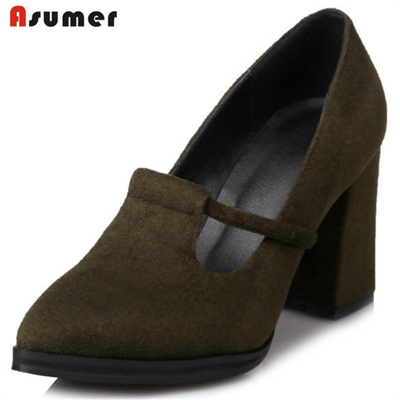 Asumer Pointed toe single shoes four seasons office lady work shoes flock solid high heels shoes woman pumps big size 34-43 asumer 2017 new high quality flock women pumps pointed toe high heels 8cm office lady dress shoes woman black wine red
