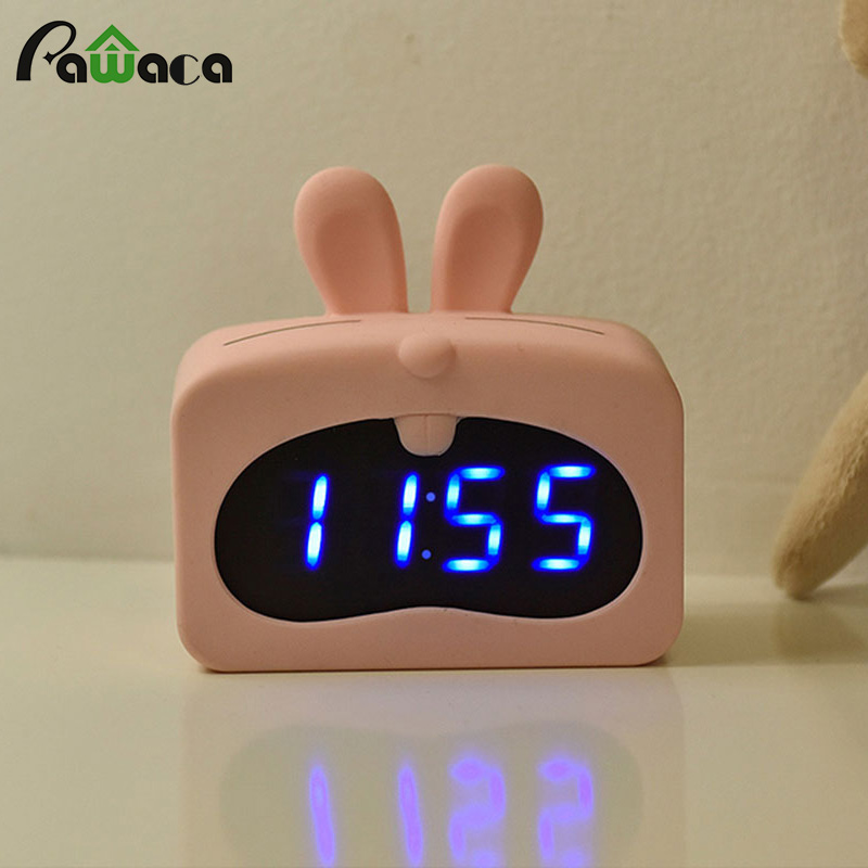 Cute Cartoon Silicone Electronic Sound Control Alarm Clock Home Digital LED Alarm Clock Bedside Time Temperature Display Clock