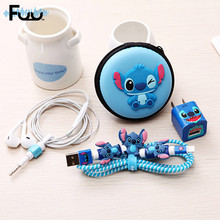 Charms Cartoon Winder Cable Clips Organizador De cable protector for iphone Headphone Case Carrying Hard Bag