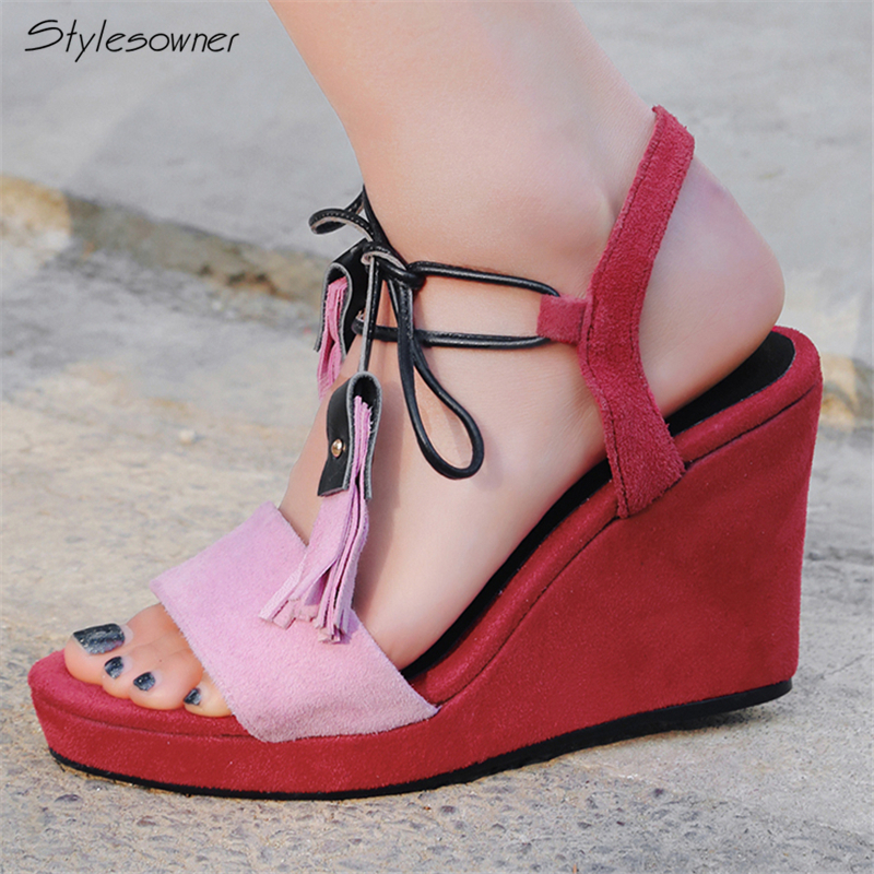 Stylesowner Tassel Wedges High Heels Sandals Summer Laces High Heel Shoes Platform Fringe Women Wedges Genuine Leather 2018 New phyanic 2017 gladiator sandals gold silver shoes woman summer platform wedges glitters creepers casual women shoes phy3323