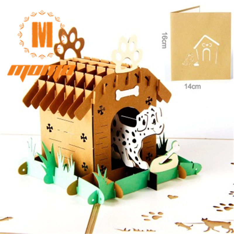 3D pop up handmade laser cut vintage cards Pet paradise creative gifts postcard birthday greeting cards for lovers creative gifts 3d pop up card greeting