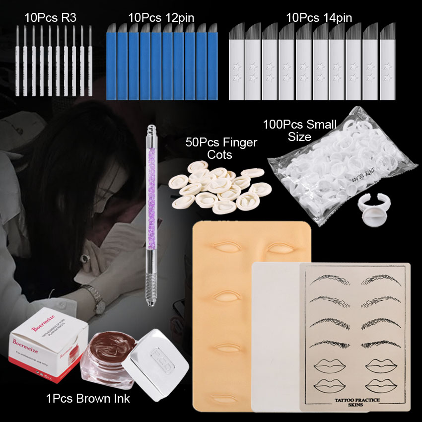 Permanent Makeup Kit Set For Beginners Practice Skin Manual Pen Pigment Microblading Needles Tattoo Ring Cups Eyebrow Lip Beauty