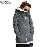 Plus 7 Sizes S 4XL 2016 Autumn Winter Women Warm Zip Up Thick Fleece Outerwear Coat