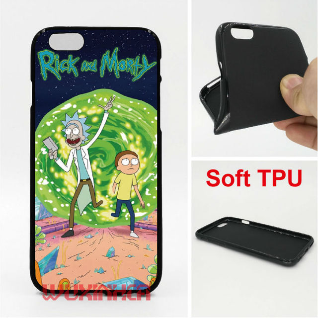 huge selection of cfb46 9e5d2 US $3.8 |Rick and Morty Phone Case Cover Soft TPU For iPhone 6 7 Plus SE 5S  4S Touch 6 For Samsung Galaxy S8 Plus S7 S6 Edge S4 S5-in Half-wrapped ...
