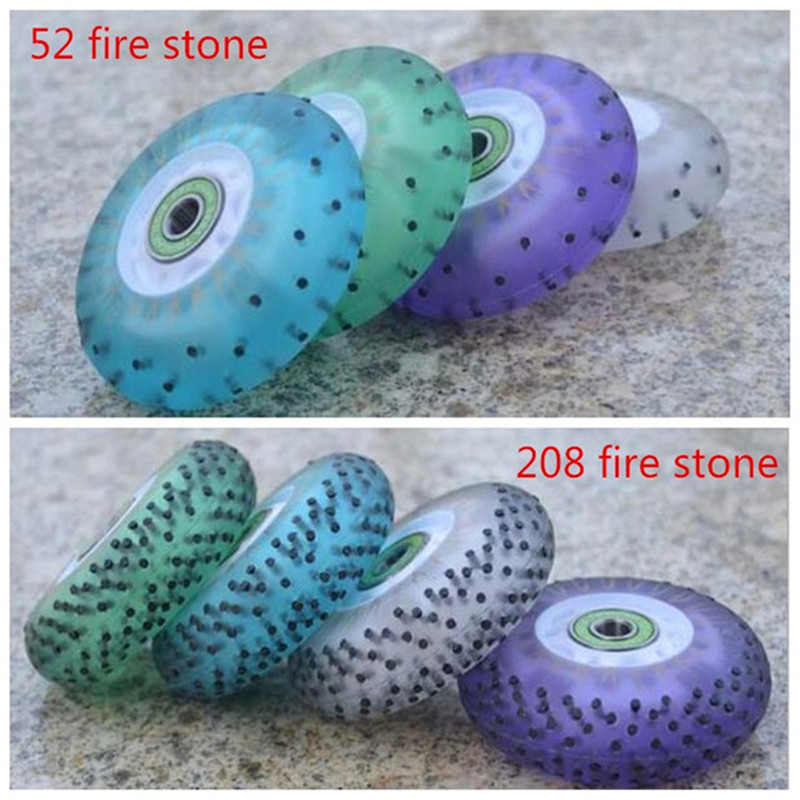 92A hardness 52 104 208 Fire Stone LED Flash 80mm 76mm 72mm Inline Skates Wheel Green Blue White Purple Sliding FSK Slalom Wheel