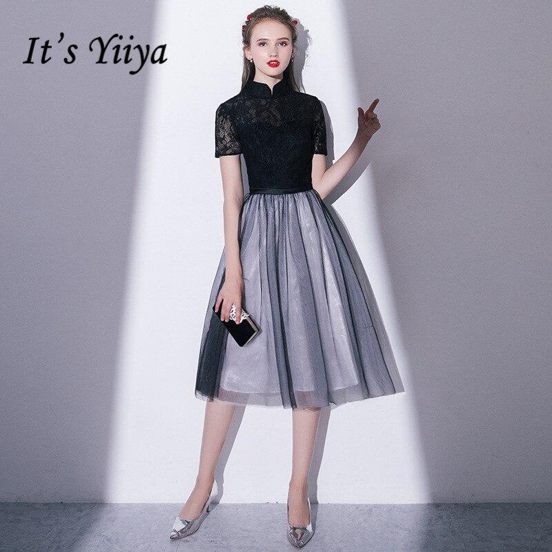 זה YiiYa שחור צווארון עומד קצר שרוול רקמת תחרה רוכסן קוקטייל שמלות אשליה אונליין הברך אורך פורמליות שמלת LX410