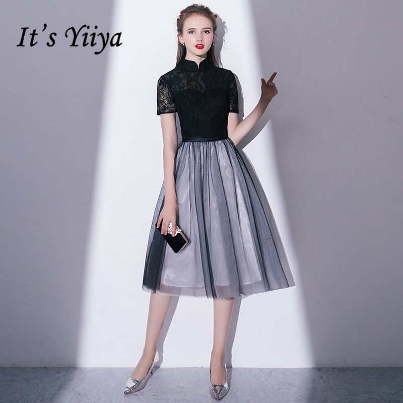 It's YiiYa Black Stand Collar Short Sleeve Embroidery Lace Zipper Cocktail Gowns Illusion A-line Knee Length Formal Dress LX410