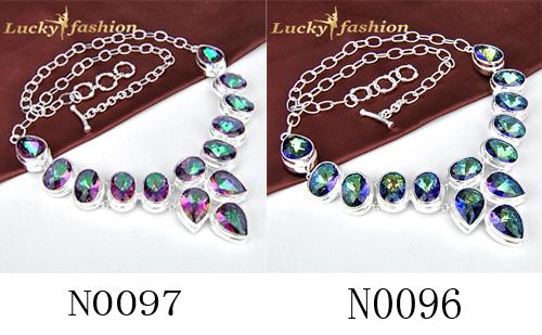 El envío Libre de Moda de Lujo Genuino Rainbow Mystic Topacio Sintético Joyería Plateada de Plata Collar de la Declaración