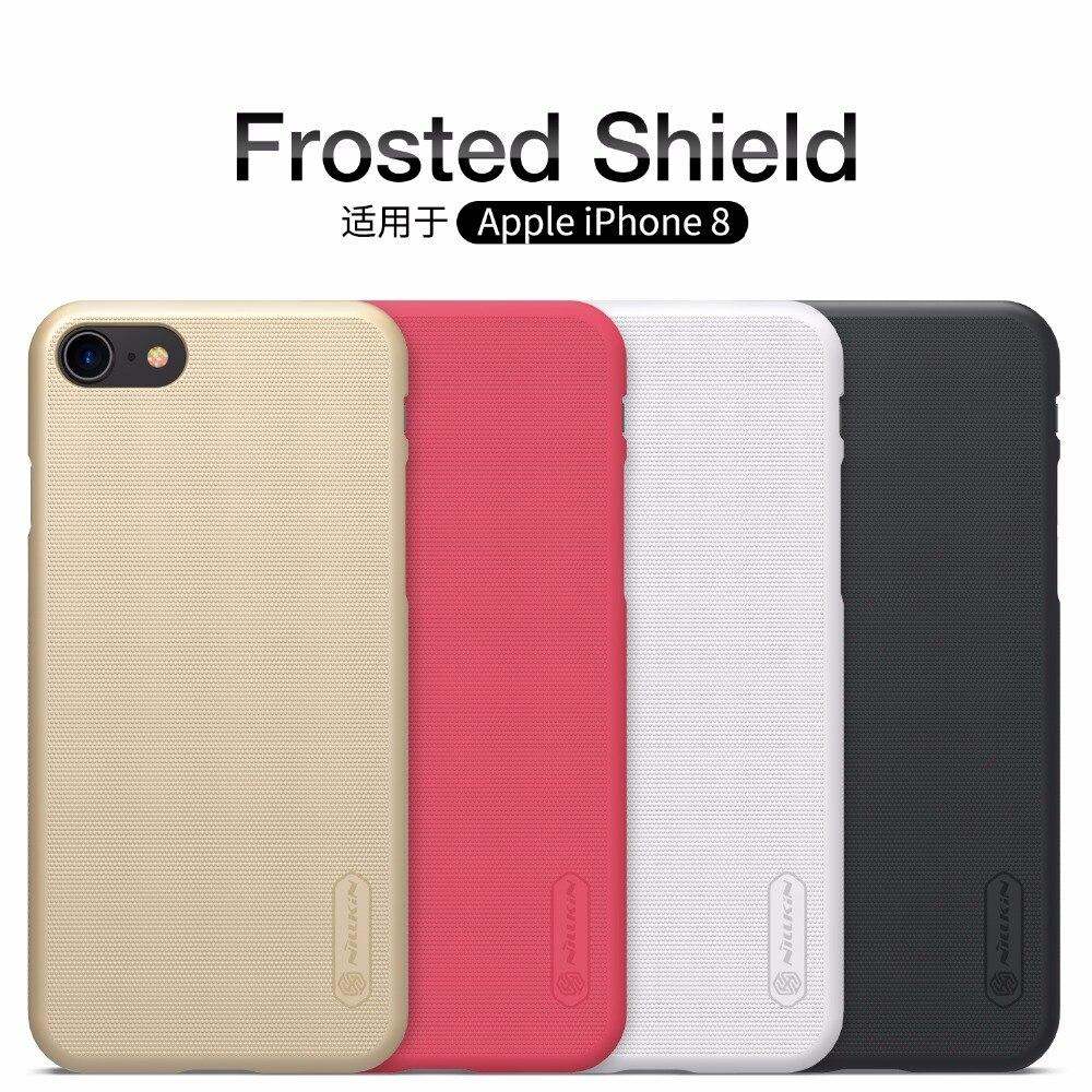 Pour Apple iphone 8 cas iphone8 plus cas 4.7 et 5.5 pouces NILLKIN Super Givré Bouclier dur de couverture arrière + protecteur d'écran gratuit
