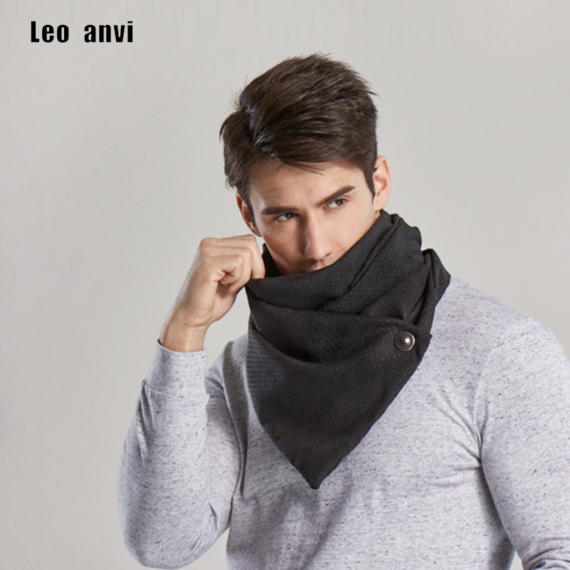 Leo Anvi Winter Ring Scarf Men Magic Scarves Male Bandana Face Mask Loop Button Neutral Novelty Fashion Shawl Hijab