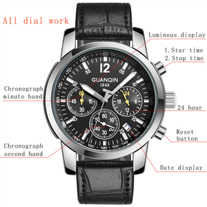 Image 4 - Erkek kol saatiGUANQIN 2019 men watch business Quartz watch Waterproof clock men watch top brand luxury Chronograph Wrist Watch