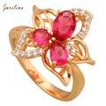Novo 2017 anéis Vermelhos para as mulheres hot pink Cubic Zirconia Moda jóias de Ouro Amarelo Chapeado tamanho do Anel 6 7 8 9 10 R572