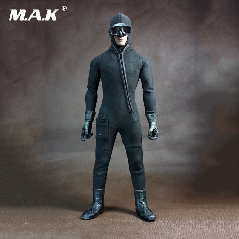 1:6 Scale Water Ghost Diving suit Black Color Clothes for 12 inches male Action Figure 1 6 scale 12 inches male clothes