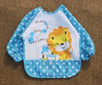 3Colors New design children baby waterproof long sleeve bib apron for boy girl self feeding 60pcs/lots free shipping