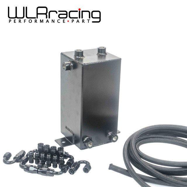 WLRING - 4L Aluminium Surge tank Full BLack Fuel cell 4L Universal Complete Fuel Surge Tank 4 L Swirl Pot System WLR-TK32BK-W fuel cell lion sd 400