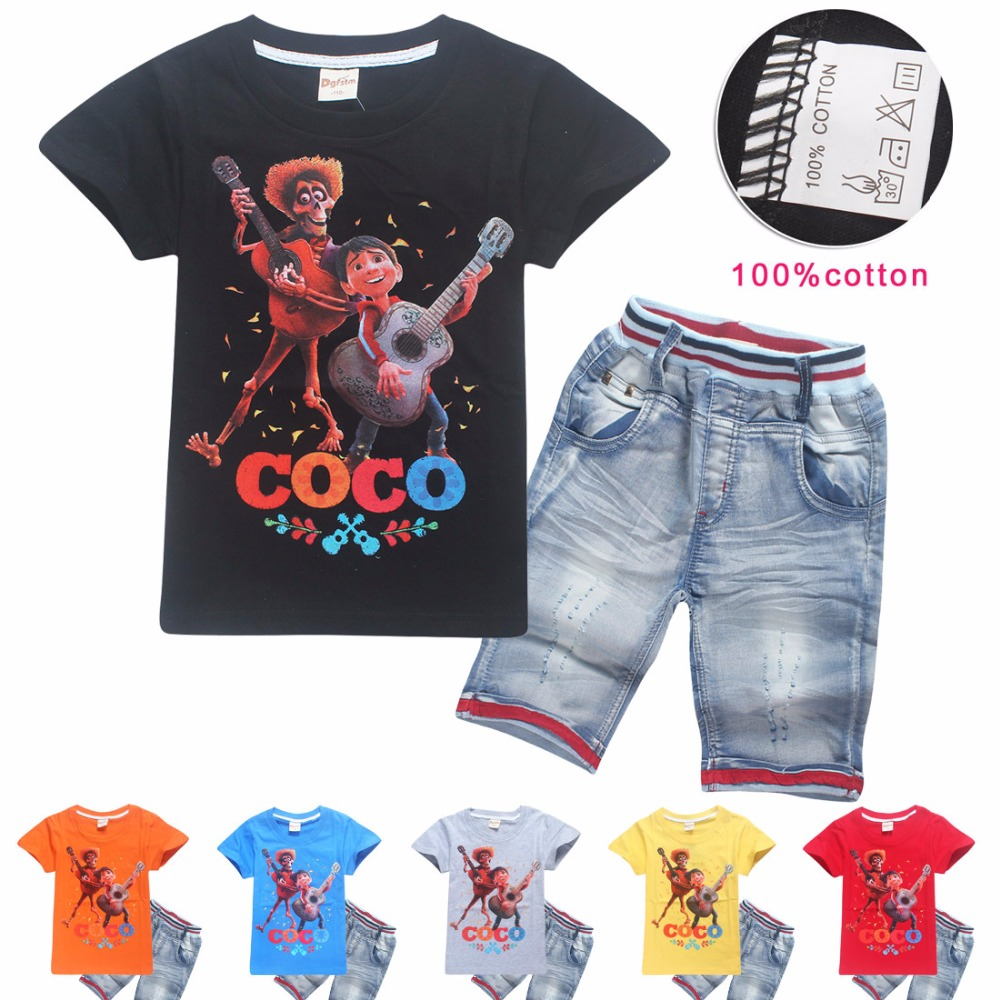 2pcs Boy Clothing Sets Baby Summer Sports Casual Short Sleeve Shirt broken hole Pants Kids clothes Micky Kids Tracksuit For Boys