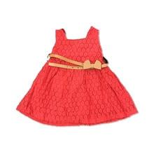 New 2016 Sweet Girls Solid Lace sleeveless dress with belt hollow Princess summer Dress Child girl flower Dress clothes